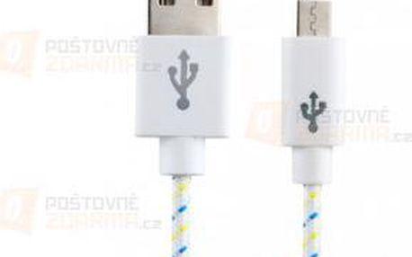 Textilní bílý nabíjecí a datový micro USB kabel a poštovné ZDARMA! - 9999920959