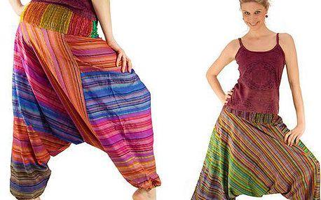 Pohodlné pruhované indické kalhoty na léto ze 100% bavlny