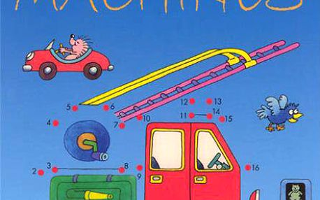 Anglická kniha pro děti Dot-to-dot machines