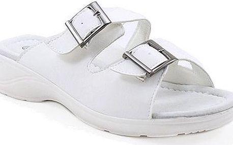Bílé páskové pantofle H13021WH Velikost: 38