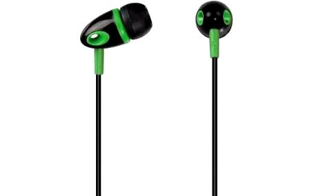 Sluchátka ME-294, silikonové špunty, černá/zelená