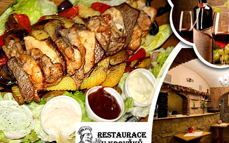 Hovězí z jihoameric. býčka, vepřová krkovice, kuřecí prsa i stehenní řízky, brambory, gril. zelenina