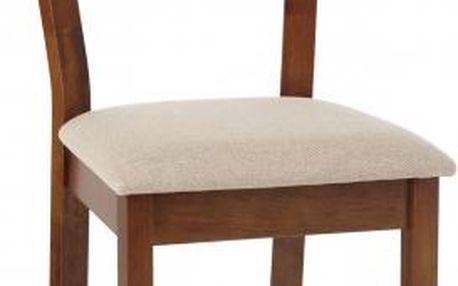 Jídelní židle OLETTA(kaučukovník, moření ořech,potah krémový)