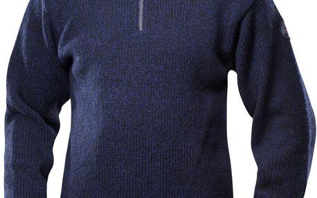 Klasický norský svetr z vlny Devold Nansen zip dark blue melange L
