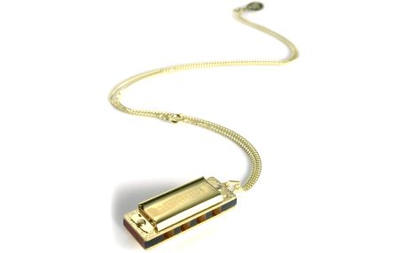 Miniatura foukací harmoniky Hohner Little Lady, gold plated with necklace