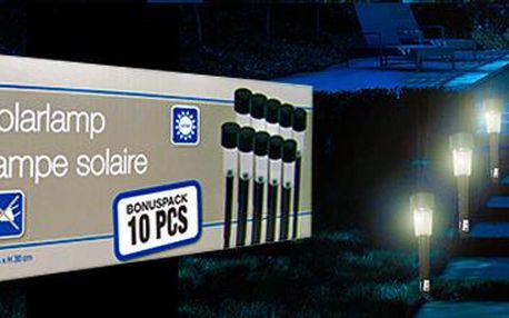 10 ks LED solárních lampiček: Energeticky nenáročné osvětlení zahrady.