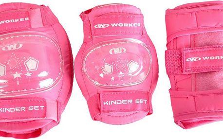 WORKER chrániče Kinder set 6 dílný růžová vel. XS