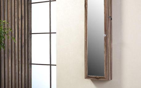 Uzamykatelné závěsné zrcadlo se šperkovnicí Isabella, třešňové - doprava zdarma!