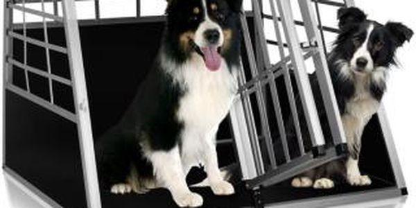 Přepravní hliníkový box pro psy se dvěma dveřmi 89 x 69 x 50 cm2
