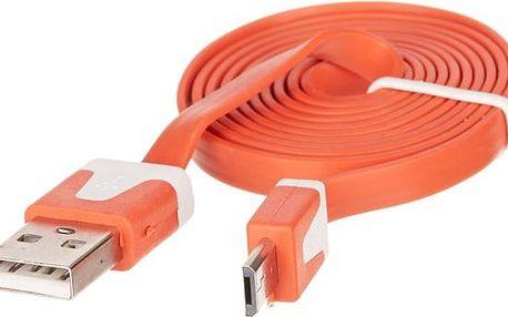 OEM univerzální plochý datový kabel microUSB oranžový (bulk)