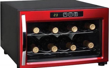 Vinotéka HumiBox JC8 Red v moderním černo-červeném provedení