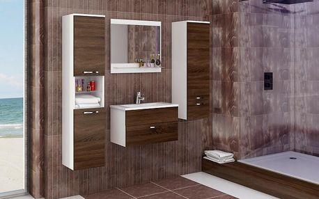 Sestava do koupelny Adel (bílá/sonoma čokoládová)