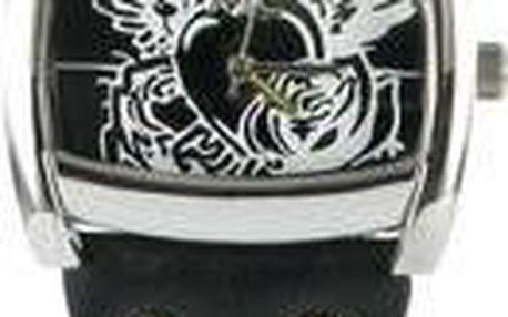 Stylové černé MC hodinky s kresbou