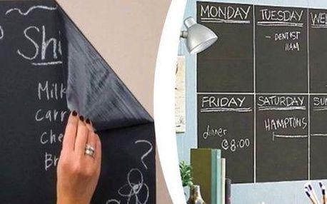 Samolepící černá tabule 200 x 45 cm + 5 kříd zdarma