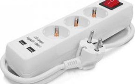 Prodlužovačka 1,4 m, 3 x zásuvka, 2 x USB ERBA ER-27004