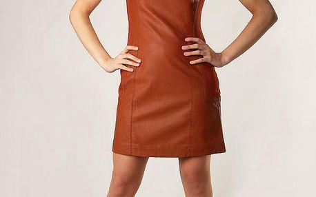 Escandelle- Paris Extravagantní pouzdrové šaty umělá kůže hnědá