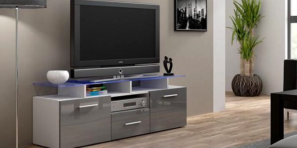 Evora mini - TV stolek (bílá/šedá lesk)