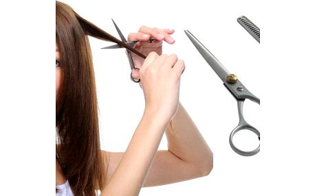 Kadeřnické nůžky z chirurgické oceli, rovné a efilační na prostříhání, pro amatérský i profi střih.