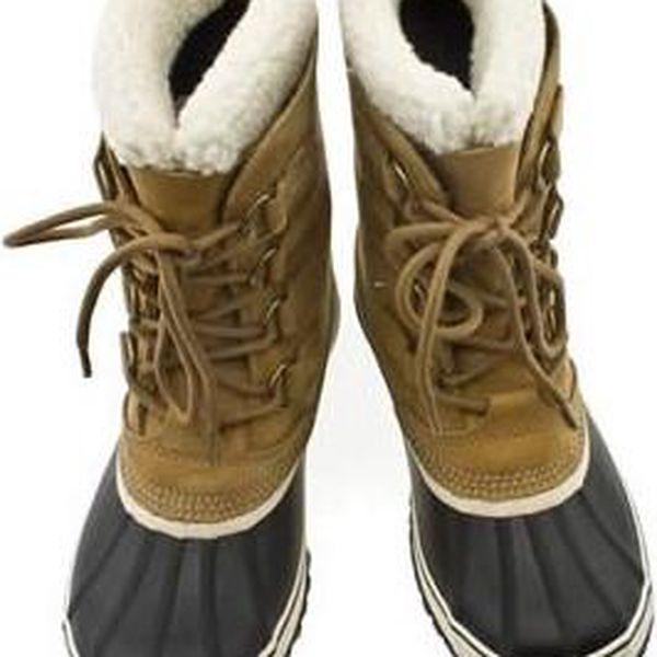 Velmi teplé dámské zimní boty s koženým horním komínem Sorel 1964 Pac 2 dámské Buff/black 5.5 UK