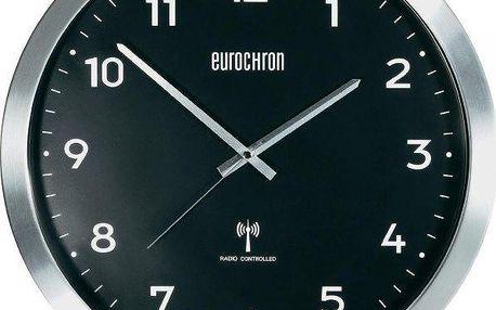 Eurochron Hliníkové nástěnné DCF hodiny EFWU 2601, 38 cm, černá - II. jakost