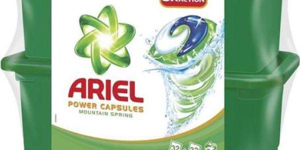 Prací prostředek Ariel Mountain Spring tekuté tablety 2 x 32 ks