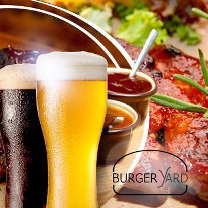 Pečená žebra v marinádě! 900 g masa s přílohami a 2x velké pivo Lobkowicz světlé nebo černé!