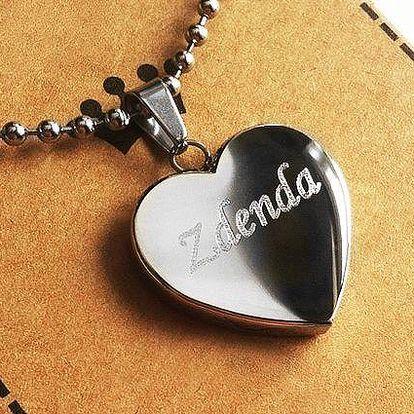 Přívěsek ve tvaru srdce z kvalitní chirurgické oceli s libovolným nápisem