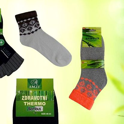 8 nebo 16 párů zdravotních thermo ponožek s bambusovým vláknem.