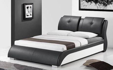 manželská postel, s roštem, ekokůže černo/bílá, 160x200, torenzo