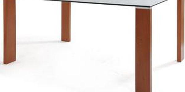 Jídelní stůl barva třešeň/sklo ALA 05007