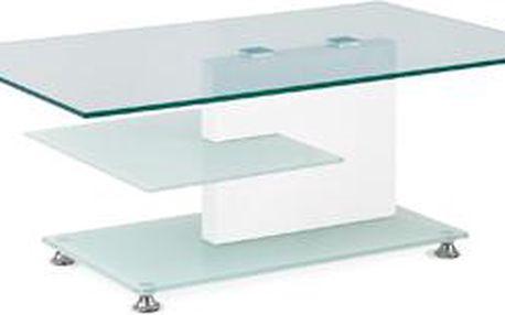 Konferenční stolek skleněný, bílá vysoký lesk ALA 05074