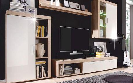 Obývací stěna, dub sonoma / bílý lesk, KANKUZ