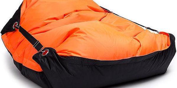 Sedací pytel s popruhy Orange - Black 181 x 141 cm3