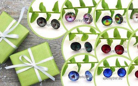 Stříbrné náušnice s krystaly Swarovski rivoli. Jemné pecičkové náušnice v 10 barevných provedeních jsou ideálním doplňkem pro ženy a dívky všech věkových kategorií. Dárek vhodný nejen k Vánocům.
