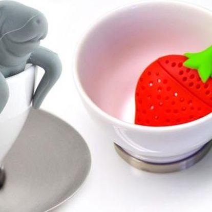 Originální sítka na sypaný čaj ve tvaru jahody nebo usměvavého mrože