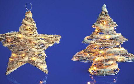 Vánoční proutěná svíticí dekorace