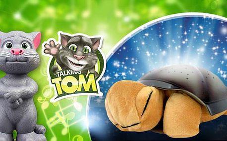 Interaktivní praktické hračky pro děti - magická svítící želvička pro usínání či mluvící kocour Tom pro rozvoj řeči.