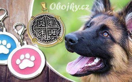 ID známka pro psy s rytím vč. poštovného! Růžová či modrá tlapička ze zinku nebo zlato-stříbrný erb z chirurgické oceli!