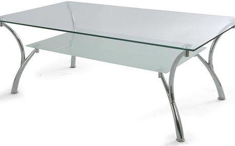 Konferenční stolek moderní s chromovou konstrukcí a čirým sklem ALA 011072
