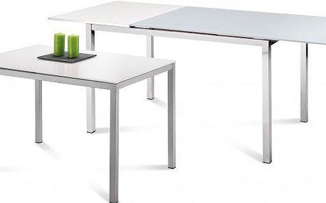Jídelní stůl Full (saténový hliník, bílá matná)