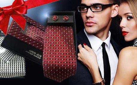 Kravata, manžetové knoflíčky a kapesníček v dárkovém balení. Tip na dárek pro opravdové gentlemany.