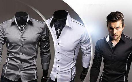Stylová pánská košile s dlouhým rukávem Slim-fit! Na výběr bílá, šedá a černá. Velikosti M, L, XL!