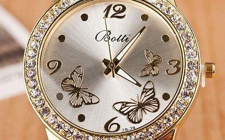 Hodinky ve zlaté barvě s motýlky - dodání do 2 dnů