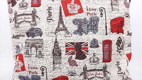 Potah na polštář červený s motivem London a Paris