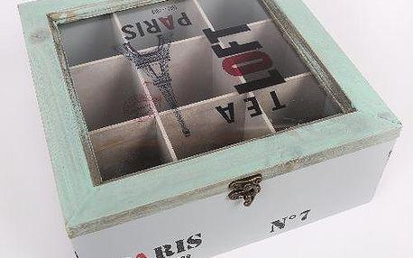 Dřevěná krabička na 9 druhů čajů s nápisem Paris