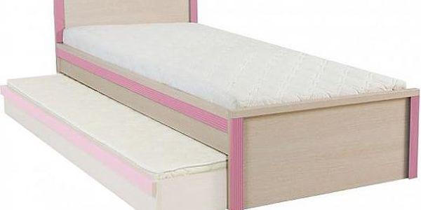 BRW CAPS, postel LOZ/90, dub sv. belluno/růžová