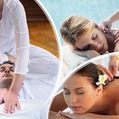 Hodinová masáž dle vlastního výběru: sportovní relaxační, lávové kameny nebo shiatsu.