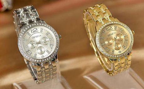 Luxusní dámské hodinky Geneva s krystaly ve 3 barevných provedeních