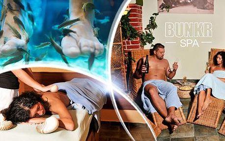 Wellness balíček pro páry v délce 120 minut! Masáž, privátní sauna a pedikúra s rybkami Garra Rufa.
