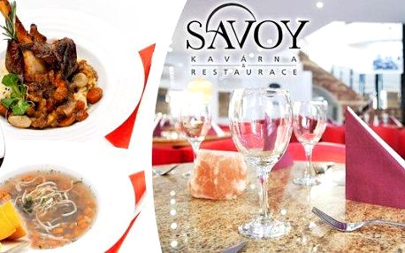 Vynikající 2chodové menu s nápojem pro 1 osobu ve vyhlášené Savoy restauraci v Brně! Pochutnejte si na pomalu pečeném jehněčím kolínku s redukcí demi-glace a jemným smetanovo-bramborovým pyré! K tomu silný hovězí vývar s domácími nudlemi! To vše zapijete